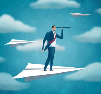 Flying manager. Business illustration