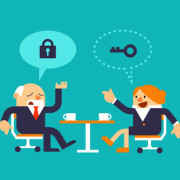 Vector Illustration Businessman with Business Woman Discussing about Solutions. Solution Concepts.